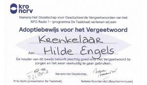 Adoptiebewijs Krenkelaar